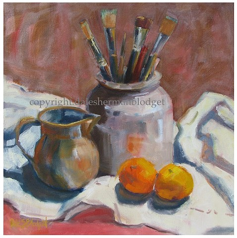 still life oil painting, oranges, paintbrushes