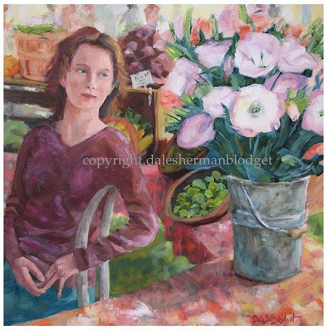 oil painting, figure, farmers market, lisianthus