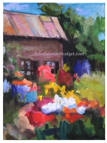 garden painting, impressionist, colorful,