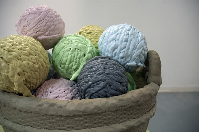 Just This One			 Ceramic, expanding foam Yarn Balls are 6 inches in diameter 2011