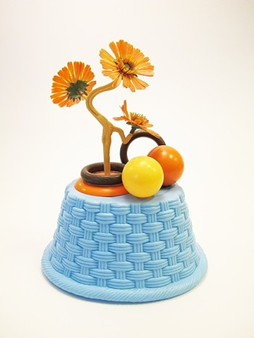 "BaskeTREE: Pennies Ceramic, found materials 12"" x 8"" x 4"""