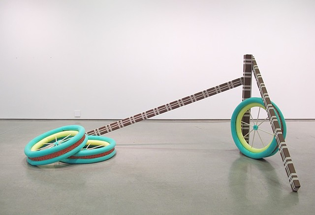 Welcome Home W.H. Wagon Wheels Ceramic, wood, fabric, pool noodles 4' x 10' x 4' 2012