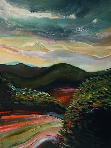 Pisgah twilight on the Red road turning