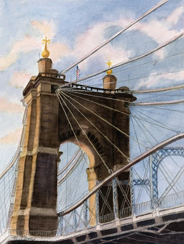 Cincinnati OH Suspension Bridge built by John Roebling and completed after the Civil War