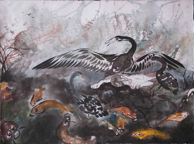 ink brush painting, leda, koi, large swan