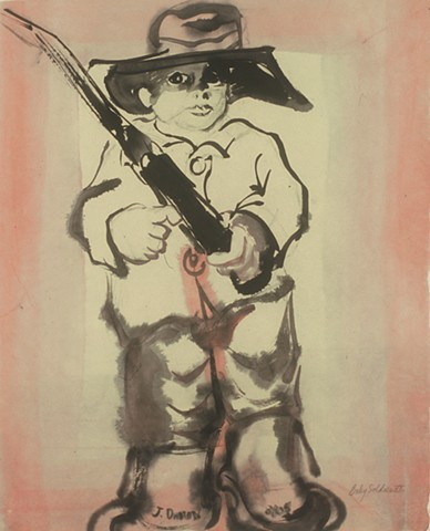ink painting of young boy soldier, WWI era
