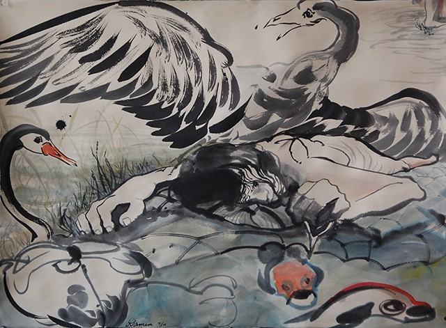 Supine girl floating on a turtle and an angry swan above her. She imagines walking away