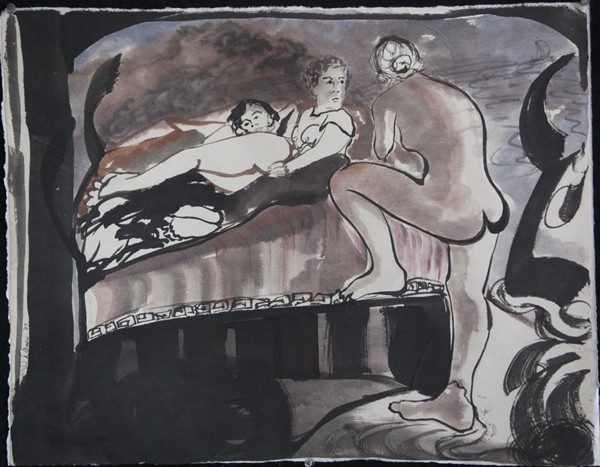 ink painting of young women lounging, Minotaur