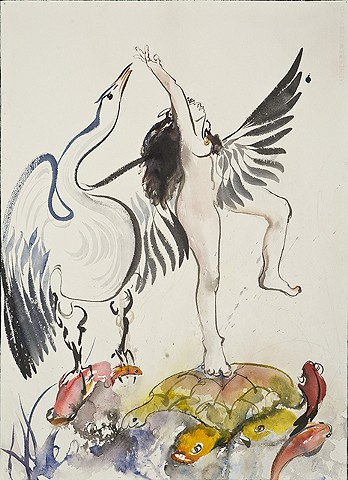 Dancing Leda on turtle, white swan