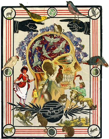 collage, pajon, print, mythology, antiquarian, victoriana, epic, allegory, vanitas, death, skull, landscape, etymology, natural history, anatomy
