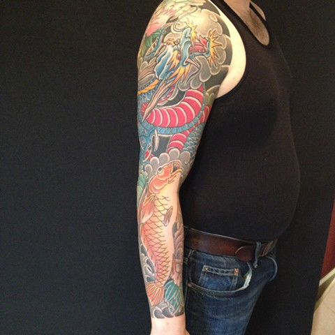 dragon and koi sleeve