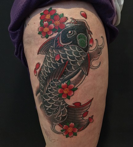 Koi and cherry blossoms