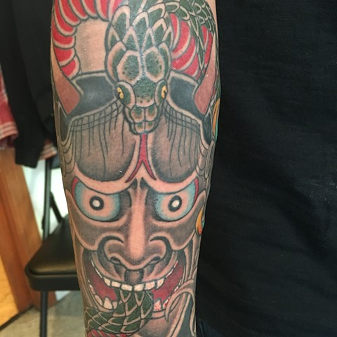 Hannya and snake tattoo  In progress  Hannya to hebi
