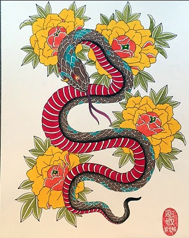 Snake and peony flowers, japanese tattoo
