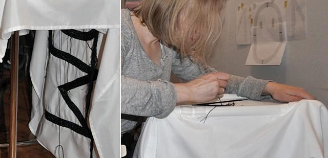 Studio shot, sewing MOM flag
