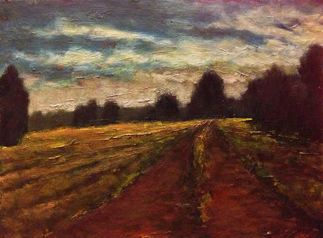 Bright Night Field Road - SOLD