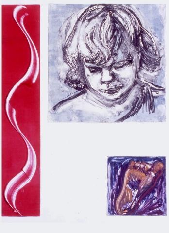 monotype print, multiple images, figurative, narrative