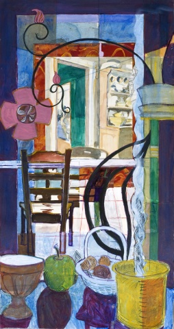 mixed materials, work on paper, interior, narrative, pattern