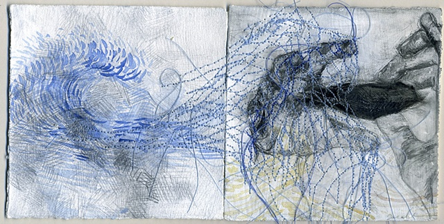 extracted from, thread, pencil and paint, 4'' x 8'', 2009
