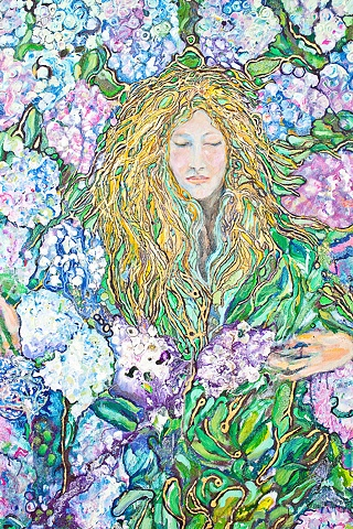 Gathering Hydrangeas (detail)