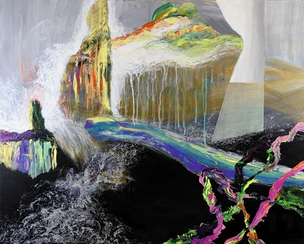 Abstract painting with black sea, impasto marks, glitter waterfall. Pink, green, orange, purple, white and iridescence.