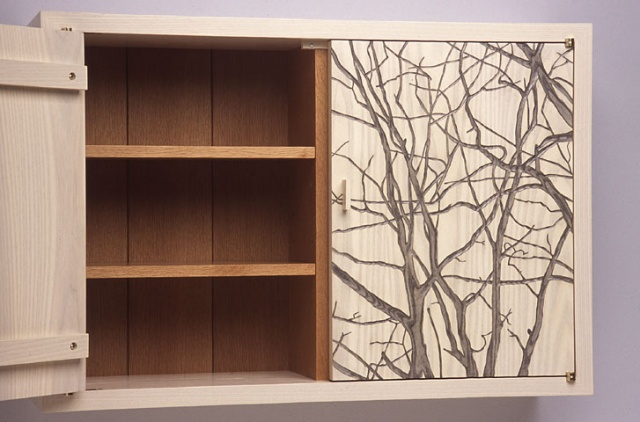 Wall Cabinet with Tree Silhouette