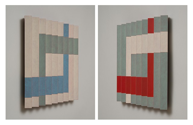 red blue interactive abstract colorful playful relief grid woodworking wood sculpture by artist Emi Ozawa