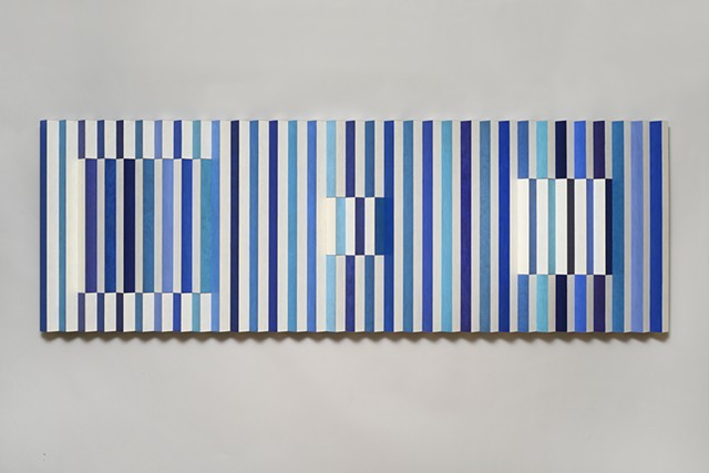 black blue stripes abstract grid woodworking colorful playful relief wood sculpture by artist Emi Ozawa