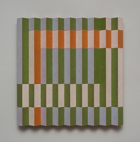 green carrot abstract colorful playful relief grid woodworking wood sculpture by artist Emi Ozawa