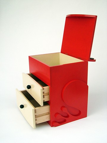 red tomato frog abstract animal woodworking furniture colorful playful wood sculpture by artist Emi Ozawa