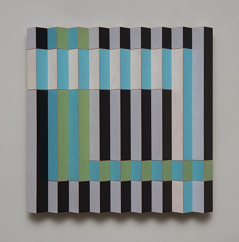 blue black abstract colorful playful relief grid woodworking wood sculpture by artist Emi Ozawa