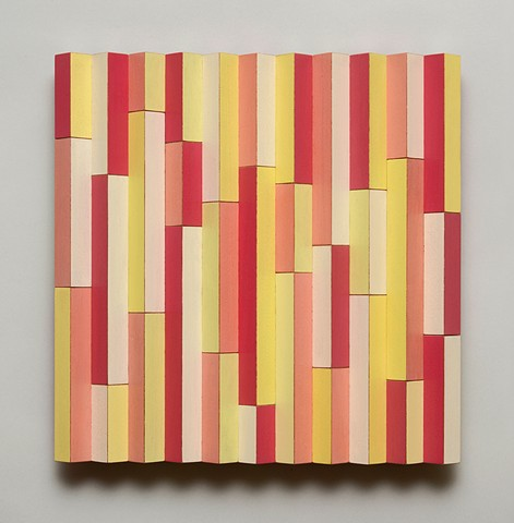 peach abstract colorful playful relief woodworking wood sculpture by artist Emi Ozawa