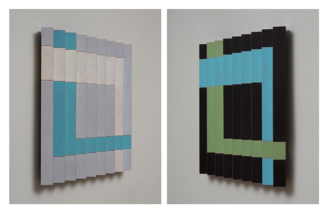 black blue abstract colorful playful relief grid woodworking wood sculpture by artist Emi Ozawa
