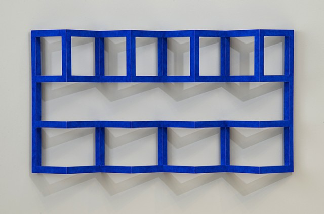 blue grid abstract colorful playful wood sculpture by artist Emi Ozawa
