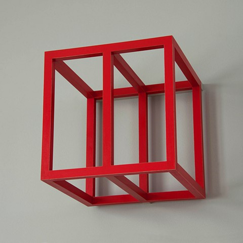 red grid cube detail abstract colorful playful wood sculpture by artist Emi Ozawa