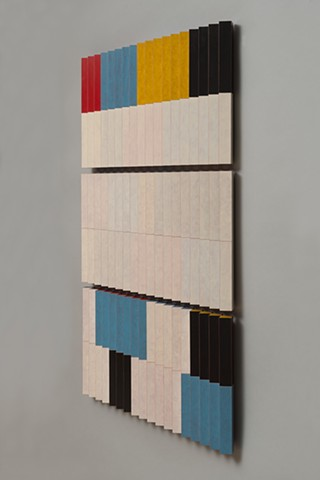 abstract colorful playful woodworking wood sculpture by artist Emi Ozawa
