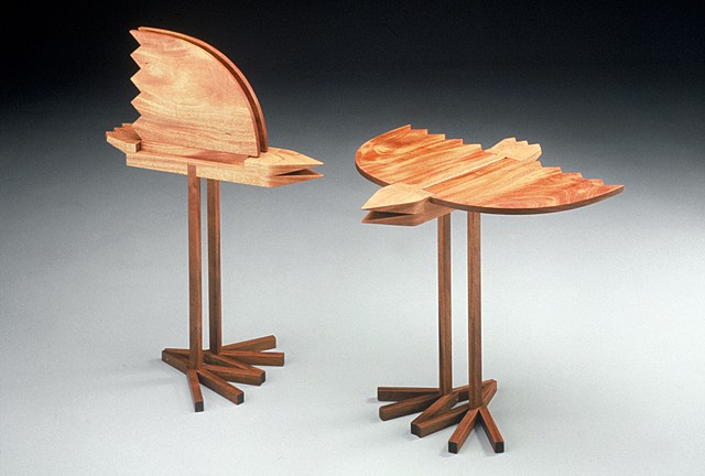 bird table abstract animal woodworking furniture colorful playful wood sculpture by artist Emi Ozawa