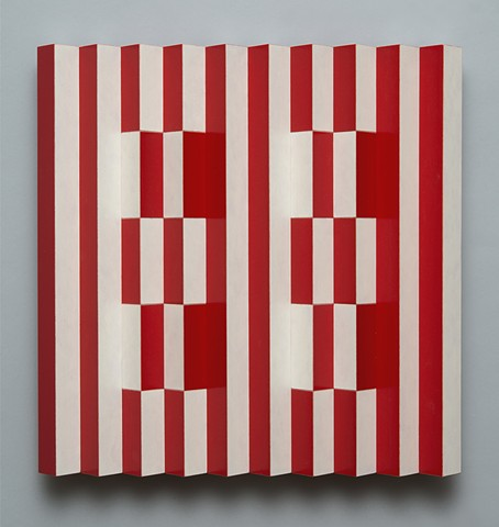 red white stripes interactive abstract colorful playful op art relief grid woodworking wood sculpture by artist Emi Ozawa