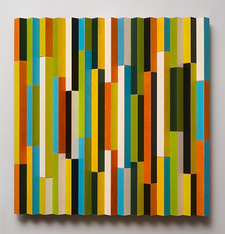 colorful abstract painted wood sculpture by artist Emi Ozawa