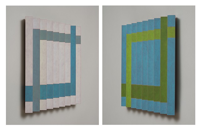 green blue abstract colorful playful relief grid woodworking wood sculpture by artist Emi Ozawa