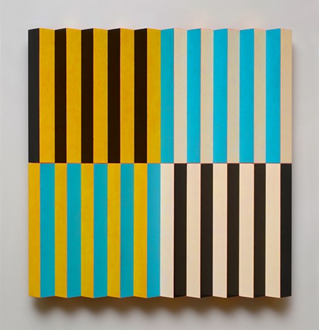 yellow black blue stripes abstract grid woodworking colorful playful relief wood sculpture by artist Emi Ozawa