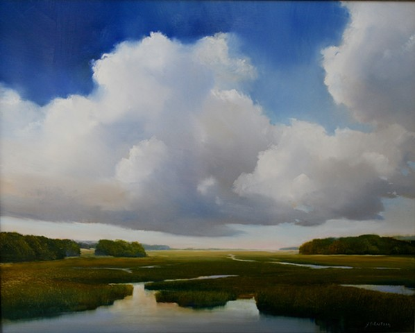 oil painting on aluminum with clouds and blue sky by Janine Robertson