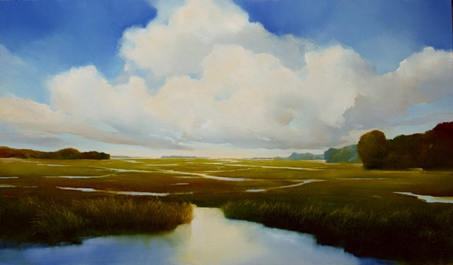 landscape oil painting on aluminum at hospital by Janine Robertson