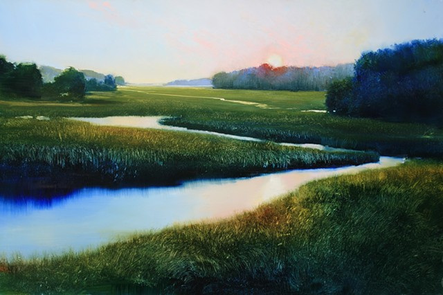 oil painting of salt marsh at sunset