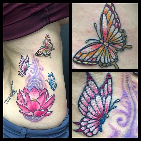 Coverup with lotus and butterflies
