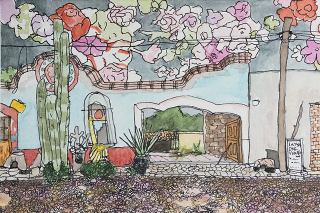 Mineral de Pozos, Mexico. Watercolor and ink on paper. Art by Eric Dyer