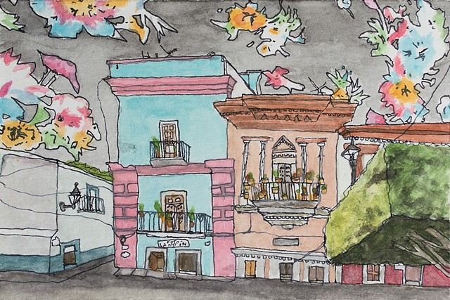 Guanajuato, Mexico. Watercolor and ink on paper. Art by Eric Dyer