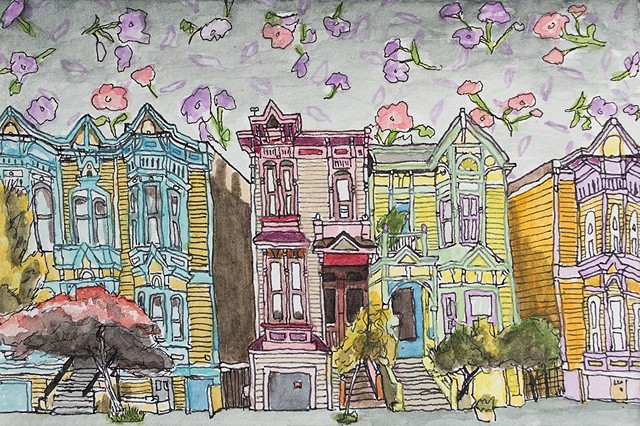 San Francisco Hoods #6. Watercolor and ink on paper. Art by Eric Dyer