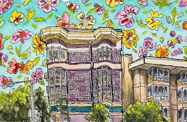 San Francisco Houses #24. Watercolor and ink on paper. Art by Eric Dyer
