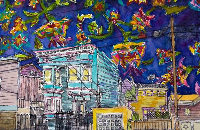 San Francisco Houses #20. Watercolor and ink on paper. Art by Eric Dyer